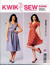 KWIK SEW SEWING PATTERN 4068 MISSES SZ 8-22 V-NECK DRESSES W/ GATHERED SKIRTS