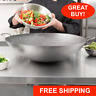 """22"""" Round Hand Hammered Silver Carbon Steel Cantonese Wok Pan Saute Asian Fry"""