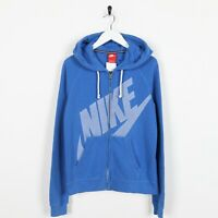 Vintage NIKE Big Spell Out Logo Zip Up Hoodie Sweatshirt Blue | Medium M