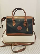 Vintage Dooney And Bourke Women's Navy Blue /Brown Pebble Leather Satchel/Purse