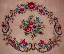 "EP ""SET OF EIGHT"" Vintage Floral Rose Chair Seat Preworked Needlepoint Canvases"