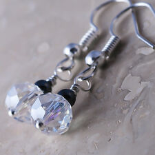 Silver Plated Dangle Fish Hook Earrings Crystal AB Hematite Ball