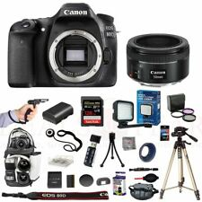 Canon 80D Camera 50mm STM Lens Hand Grip LED Light Backpack 128GB Tripod Kit