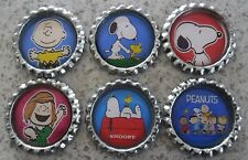 6 x Snoopy, Charlie Brown, Peanuts Flattened Bottle Caps - Great for Magnets