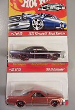 Hot Wheels Modern Classics 10/15 1970 PLYMOUTH ROAD RUNNER 11/15 '80 EL CAMINO