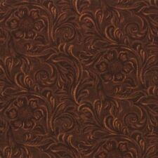 KING OF THE RANCH~BY 1/2 YD~MODA~Brown TOOLED LEATHER COTTON PRINT~11216-15