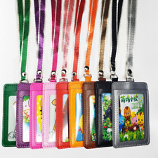 ID Badge Card Holder Leather Vertical  Neck Strap Lanyard Necklace Case