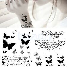Papillon Lettre Body Art Tatouage Temporaire Autocollant Etanche Amovible BA