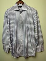Faconnable Mens Long Sleeve Button Front Shirt Blue Striped  16.5 Size L