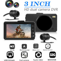 3 inch HD LCD Motorcycle DVR Dashboard Camera Recorder Dual Lens WDR Dash Cam