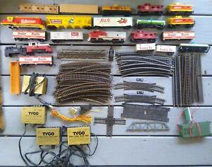 Large Lot of Model Train Engine Cars Transmitters Plus 60 Track Pcs