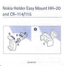 Bedienungsanleitung 9-sprachig: Nokia Halter HH-20 und CR-114/115 (für Handy)