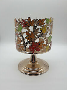 New Bath and Body Works Pedestal 3 Wick Candle Holder Fall Leaves Thanksgiving.