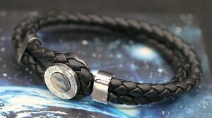 NEW MONTBLANC DOUBLE LOOP BANGLE BRACELET IN BLACK WOVEN LEATHER AND ONYX
