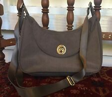 Baggalini Crossbody Purse with Turnlock Closure--Brown/Taupe NICE