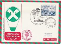Austria 1970 Wien Building Slogan Cancel Balloon Post Stamps Cover Ref 28084