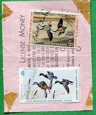 IOWA 1972 Resident Hunting + Fishing License W/ RW39 + State Duck Stamp - 578