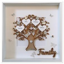 Personalised Family Tree 3D Box Frame Wedding Christmas Gift Home Silver Glitter