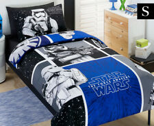 Kids Star Wars Movie Storm Trooper Single Quilt Cover Set - Blue & Black