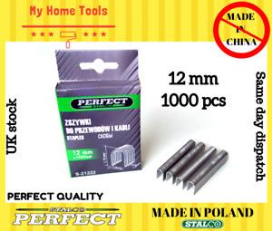 1000 x 12mm Staples GUN REFILLS U Shaped Nails Fabric/Wood Tacker Indust Cable