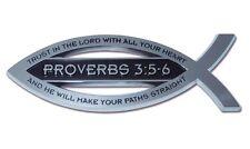 Christian Fish Chrome Car Emblem Proverbs 3:5-6 High Quality Free Shipping!