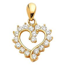 14K Yellow Gold 0.25 Ct Diamond Heart Love Pendant Charm for Necklace 1.1 gr