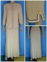 St John Collection Beige Jacket & Skirt XL L 12 14 2pc Suit Brown Trims Zipper