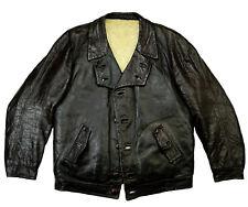 British carcoat vintage original chaqueta de cuero FORRADA BORREGO Braun 46 s