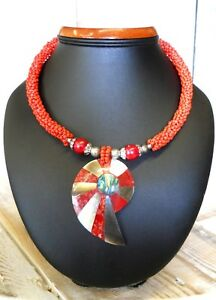 Nice Necklace Ethnic Molten Plastic with Natural Shells on Beaded Thread 25 cm