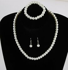 Classic Imitation Pearl Clear Elegant Fashion Costume Pearl Jewellery Sets