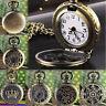Women's  Vintage Retro Bronze Quartz Pocket Dress Watch Pendant Chain Necklace