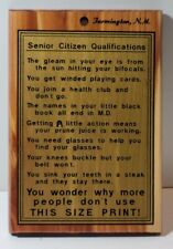 Vintage senior Citizen Wood Humorous Sign Wall Plaque Decor Farmington NM