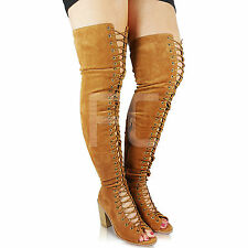 NEW WOMENS CELEB TALL LACE UP PEEP TOE MID HIGH HEEL OVER KNEE THIGH BOOTS SIZE