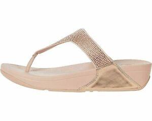 FitFlop Lulu Crystal Rose Gold Women's Embellished Sandals EJ8-323
