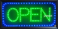 All letters Animated Led Blue Green OPEN Sign + Animation on/off Switch + Chain