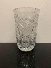 """Vintage Cut Crystal Vase Pinwheel & Star of David Design 9"""" *LARGE* Ships Free!!"""
