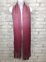 "Cejon Pink Ombre Metallic Detail Knit Scarf With Fringe 76x8"""