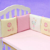 Baby Crib Bumper Breathable Cozy Cotton Infant Toddler Bed Cot Protector 6PCs
