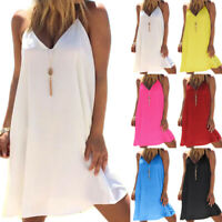 Womens Strappy Sleeveless Casual Summer Holiday Beach Swing Dresses Plus Size