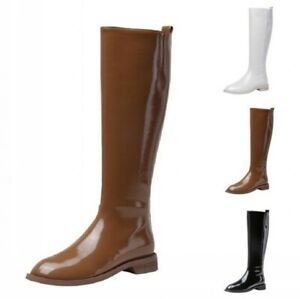 Hot Women Low Heel Round Toe Patent Leather Mid Calf Boots Biker Motor Shoes L