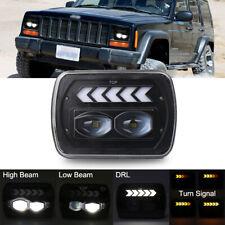 5x7 7x6'' LED Headlight Hi-Lo Beam Turn Signal For Jeep Cherokee XJ Wrangler YJ