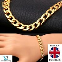 UNISEX STAMPED REAL18K GOLD FILLED MENS/LADIES LINK CHAIN CURB BRACELET 10MM