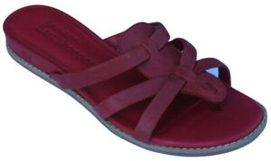 Timberland Women's Ladies Red Leather Summer Thong Flip Flops Flat Sandals Size