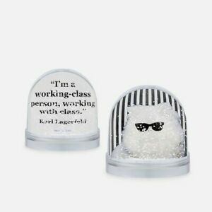 New Karl Lagerfeld's Cat Snow Globe with fun Life quote Handmade