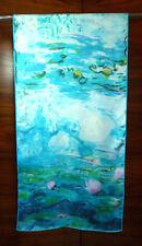 Lunga Sciarpa Di Seta Twill stampa vagamente le ninfee di Monet Blu/Rosa/Bianco Nuovo