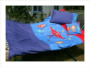 Kids Single Duvet Set New Blue Embroidered Robots Space Aliens 100% Cotton
