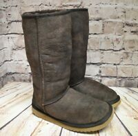 Womens Brown Pull On Flat Sheepskin Mid Calf Boots Shoe Size UK 4 EUR 37