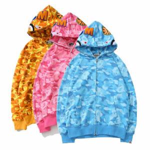 Bathing Ape Bape Hoodie Shark Jaw Camo Full Zipper Men's Sweats Coat Jacket New