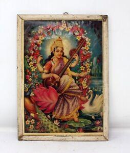 Antique Old Original Hindu Lord Sarswati Maa Frame Wooden Base Figurine