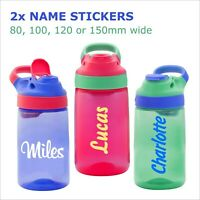 Personalised name vinyl sticker decal drink water bottle and kids lunch box